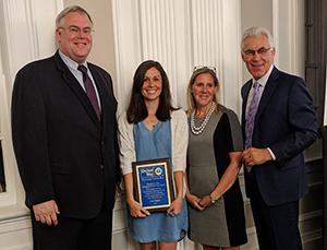 Lisa Higley accepting the United Way award