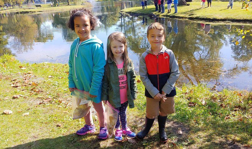 Three elementary school students