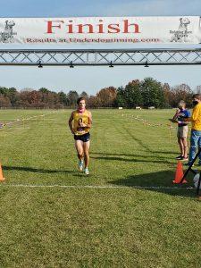 Lucas Jenkins crosses the finish line